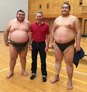 Brian with Sumo wrestlers